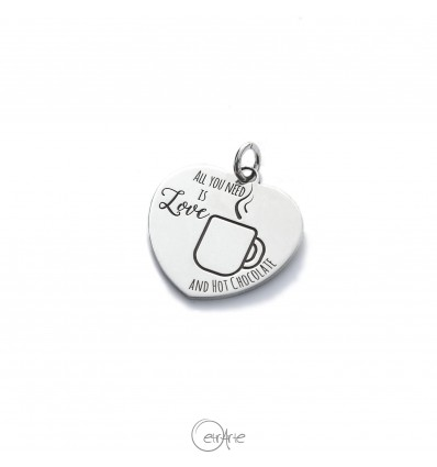 "Ciondolo cuore in argento ""All yuo need is Love and hot chocolate"""