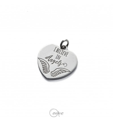 """Ciondolo cuore in argento """"I believe in Angels"""""""