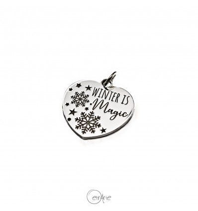 "Ciondolo cuore in argento ""Winter is Magic"""